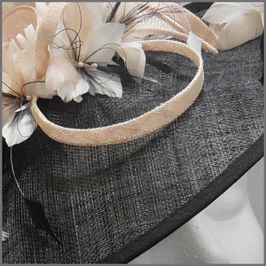 Black, White & Nude Sinamay Classic Hatinator for Wedding Guest