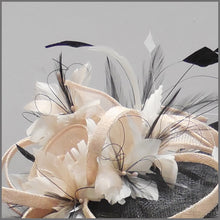 Load image into Gallery viewer, Black, White & Nude Feather Hatinator on Headband