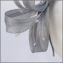 Load image into Gallery viewer, Wedding Guest Fascinator in Metallic Silver