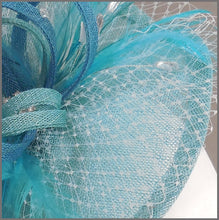 Load image into Gallery viewer, Wedding Guest Feather Fascinator in Aqua Blue