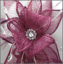 Load image into Gallery viewer, Wedding Guest Feather Fascinator in Red Wine Claret