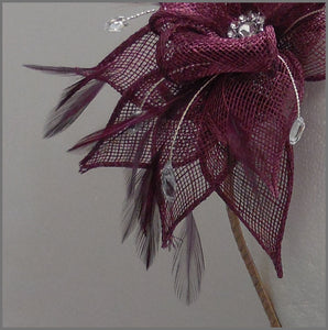 Wedding Guest Feather Fascinator in Red Wine Claret