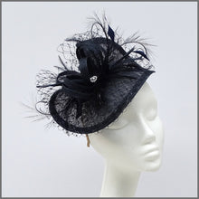 Load image into Gallery viewer, Wedding Guest Hatinator Fascinator in Navy Blue