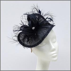 Wedding Guest Hatinator Fascinator in Navy Blue