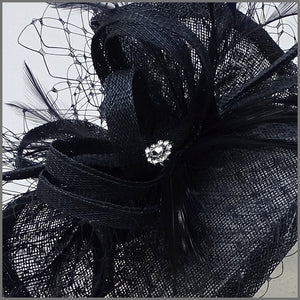 Wedding Guest Feather Fascinator in Navy Blue