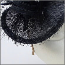 Load image into Gallery viewer, Disc Fascinator in Navy Blue Made on a Headband