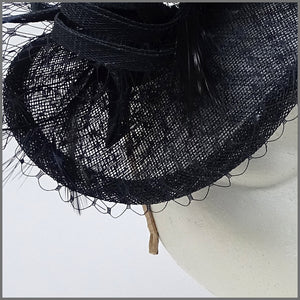 Disc Fascinator in Navy Blue Made on a Headband