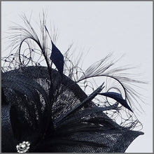 Load image into Gallery viewer, Navy Blue Hatinator with Feathers for Race Day