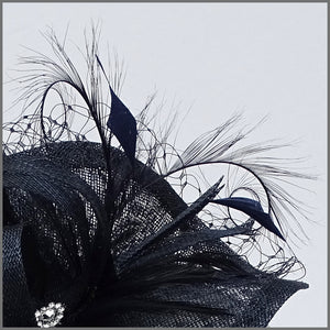 Navy Blue Hatinator with Feathers for Race Day