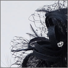Load image into Gallery viewer, Navy Blue Hatinator with Netting for Wedding