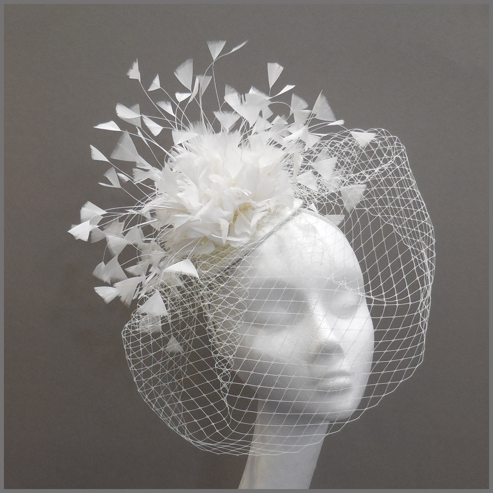 Bridal Wedding Feather Fascinator with Veil in White