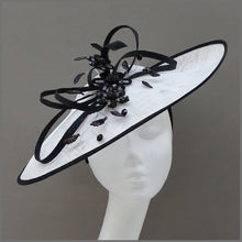 Load image into Gallery viewer, White & Black Crystal Flower Occasion Disc Fascinator