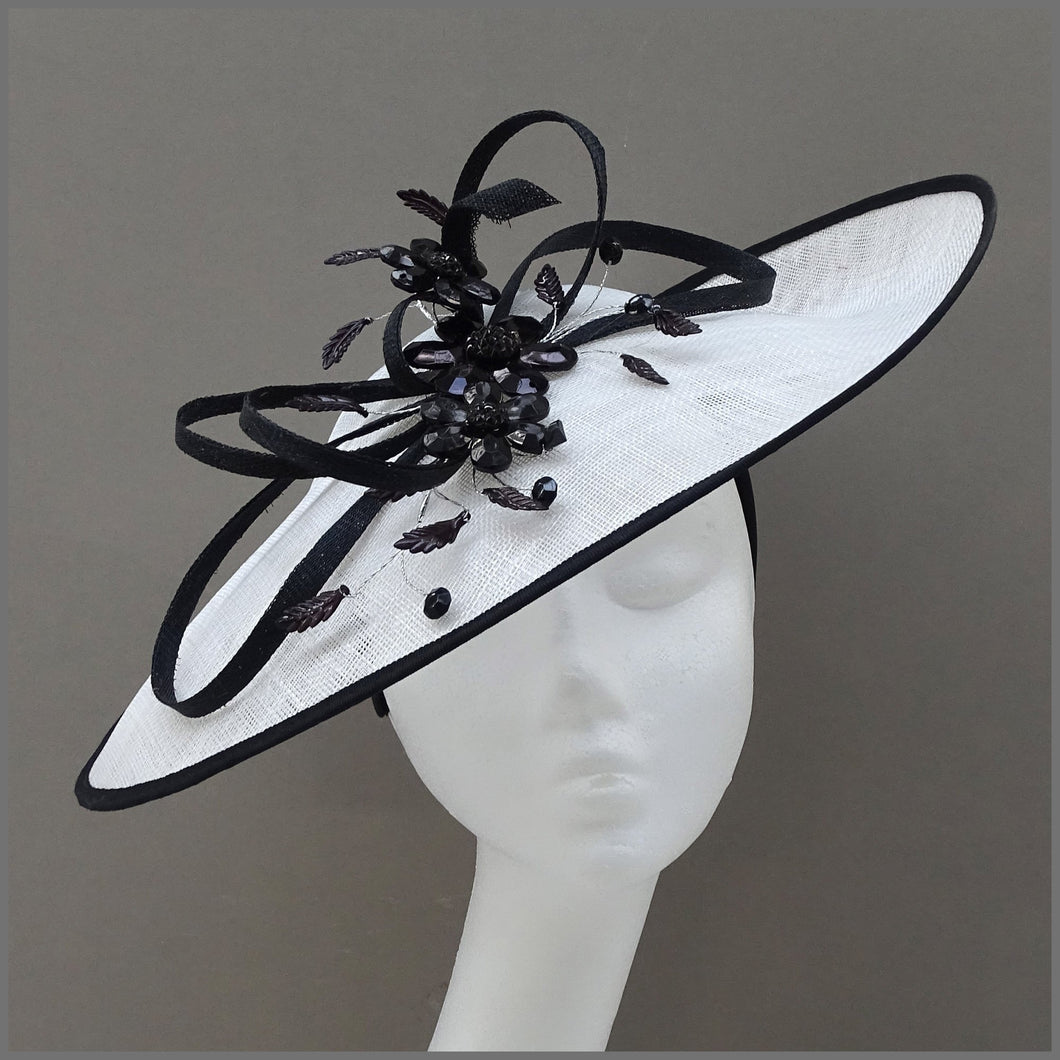White & Black Crystal Flower Occasion Disc Fascinator