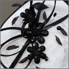 Load image into Gallery viewer, White & Black Crystal Flower Disc Fascinator for Race Day