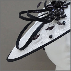 White & Black Crystal Flower Disc Fascinator on Headband