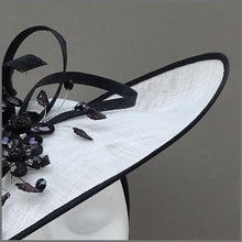 Load image into Gallery viewer, White & Black Crystal Flower Hatinator for Special Occasion