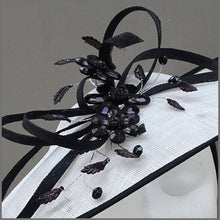 Load image into Gallery viewer, White & Black Crystal Flower Disc Fascinator for Mother of the Bride