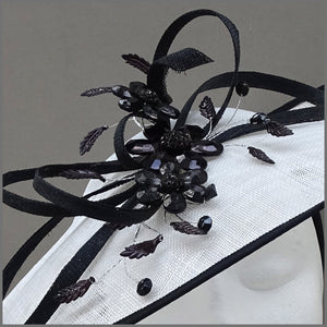 White & Black Crystal Flower Disc Fascinator for Mother of the Bride