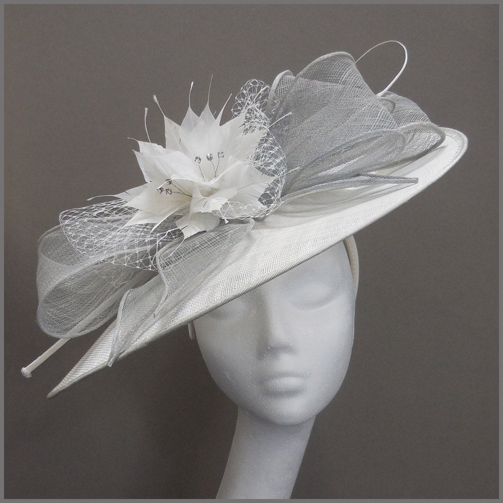 White & Dove Grey Ladies Day Floral Hatinator