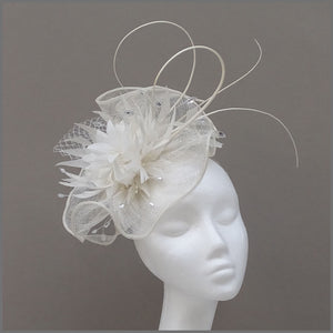 White Formal Fascinator with Feather Flower Cluster