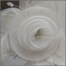 Load image into Gallery viewer, White Rose Design Feather Fascinator on Headband