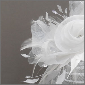 White Rose Design Feather Fascinator on Headband