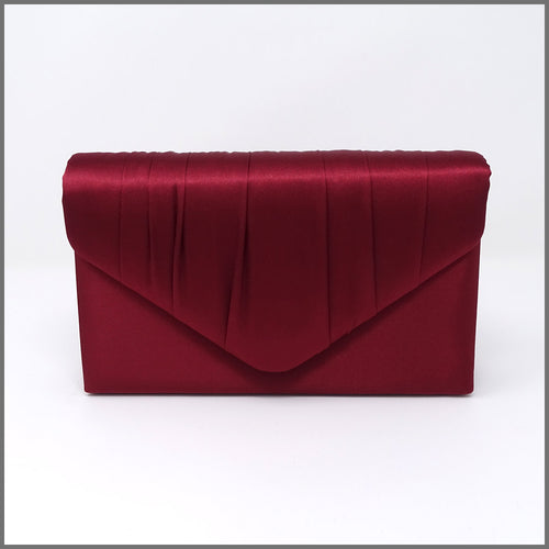 Women's Burgundy Satin Clutch Evening Bag