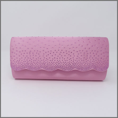 Women's Candy Pink Satin Clutch Evening Bag