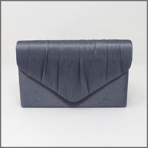 Women's Charcoal Grey Satin Clutch Evening Bag
