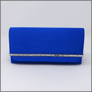 Cobalt Blue Satin Clutch Evening Bag with Diamanté