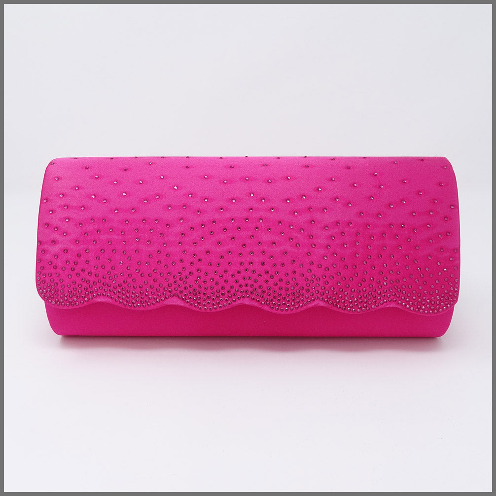 Women's Fuschia Pink Satin Clutch Bag for Cocktail Party