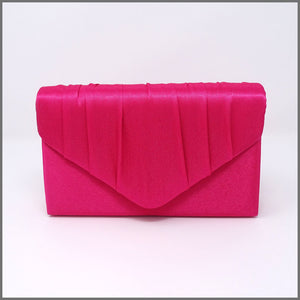 Women's Fuschia Pink Satin Clutch Evening Bag