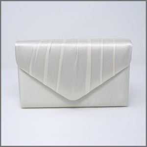 Women's Ivory Satin Clutch Evening Wedding Bag