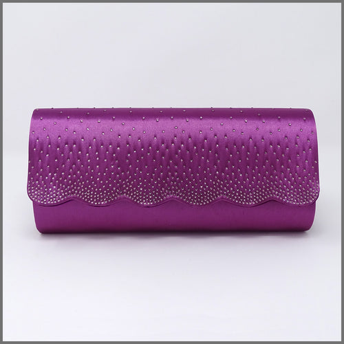 Women's Purple Satin Clutch Bag for Wedding