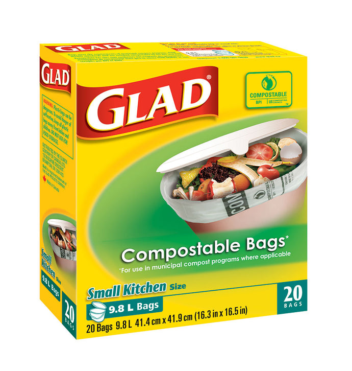 GLAD bio-degradable / Compostable bags size small  20 ct