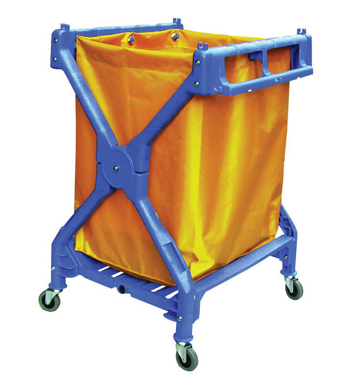 Blue X frame folding cart with yellow vinyl bag 27.9