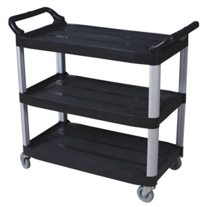"Small utility cart-open sides BLACK  38.375""x17.5""x33"" H"