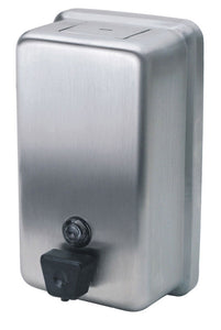 Vertical push button soap dispenser 40oz stainless steel