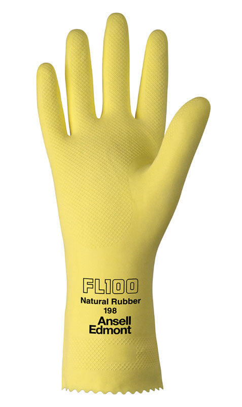 Economical yellow latex gloves  LARGE 12 pairs
