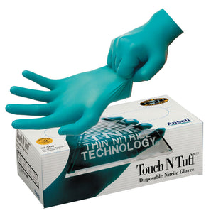 Touch N Tuff  NITRILE green disposable gloves MEDIUM/100pk