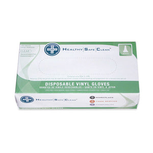 Powder free disposable clear vinyl gloves size x-large 100 pk