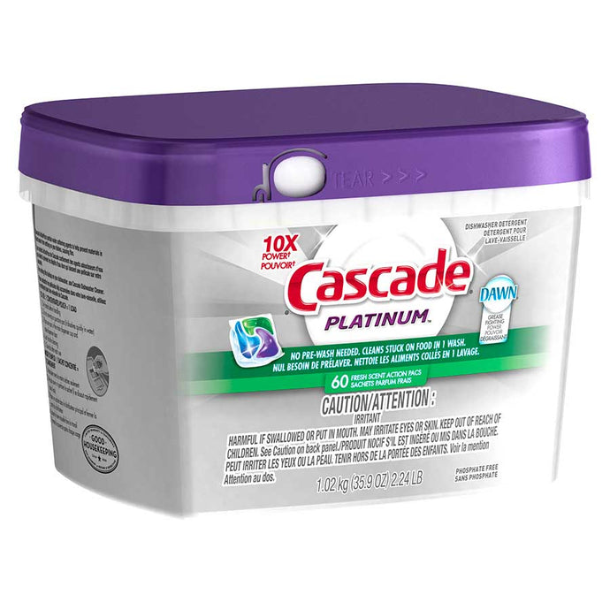 CASCADE action packs Platinum Fresh scent 60/pk