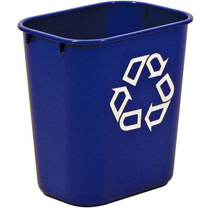 "Rect. recycling wastebasket 3.25 gal  blue 11 3/8""x8 1/4""x 2 1/8"" H"