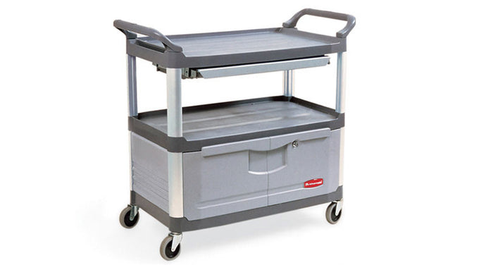 (spec.ord) Cart with lockable doors & sliding drawers cap.300lbs gray
