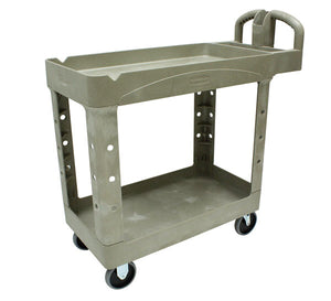 HD 2 shelf utility cart with lipped shelf cap. 500lbs beige