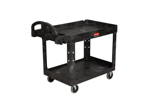 HD 2 shelf utility cart with lipped shelf cap. 500 lbs black
