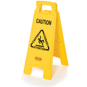 "Double sided multi-lingual ""Caution"" sign yellow 11""x 25"""