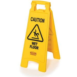 "Double sided ""Caution Wet Floor"" sign yellow 11""x 25"""