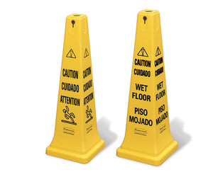 "(spec.ord*5*)Safety cone multi-lingual ""Caution"" yellow 12.25""x12.25""x"