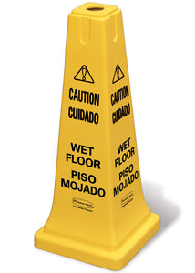 "(spec.ord*6*) Safety cone multi-lingual ""Caution Wet Floor"" yellow"